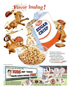 Post Sugar Crisp Cereal with Major League Patches 1955