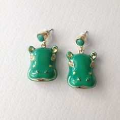 """Hippo Earrings - Green These cute Animal Hippo are 1 1/2"""" long. Post back. Gold tone. Please look for other listing for it comes in Pink. Jewelry Earrings"""