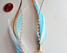 Salt & Pepper Feather Earrings by MayflyJewelry on Etsy