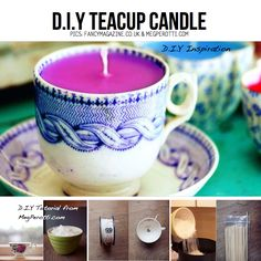 DIY Teacup Candle, with tutorial from MegPerotti.com, featured in round-up of DIY Candle Ideas on ScrapHacker.com