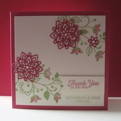 Card made with the new Stampin Up Flourishing Phrases Stamp Set & Flourish Thinlits Dies. :)