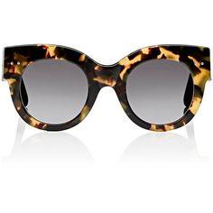 Bottega Veneta Women's Cat-Eye Sunglasses ($219) ❤ liked on Polyvore featuring accessories, eyewear, sunglasses, brown, cat eye glasses, tortoiseshell glasses, tortoiseshell sunglasses, brown sunglasses and brown cat eye sunglasses
