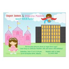 Superhero Birthday Invitations Super Hero and Princess Twins Joint Birthday Party Card