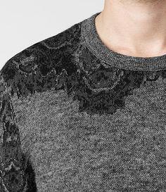 Uomo Fragment Knit Crew Jumper (Charcoal/Ink) | ALLSAINTS.com