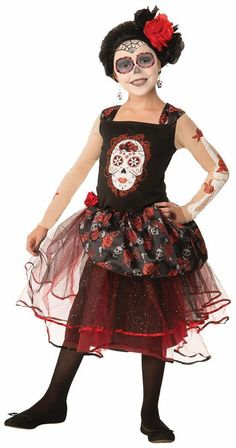 Try Day Of The Dead Rosa Senorita Costume Child. Spectacular Set of Costumes for Christmas, Halloween at PartyBell. Halloween Fancy Dress, Halloween Costumes For Girls, Baby Halloween, Girl Costumes, Costume Halloween, Children Costumes, Halloween 2016, Red Tulle Skirt, Pink Tutu Dress