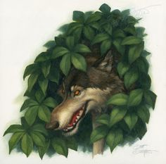 """""""The Wolf"""" - oil on panel, approx. image size: 10"""" x 10."""""""