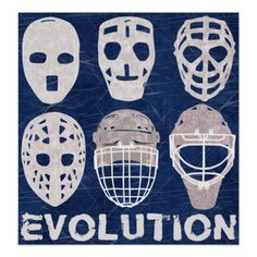 #Hockey Goalie Mask Evolution Poster. To see this design on the full range of products, please visit my store: www.zazzle.com/gamefacegear*/ and click on the 'Hockey Designs' category.  #icehockey