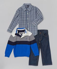 Another great find on #zulily! Cobalt Color Block Pullover Set - Infant, Toddler & Boys #zulilyfinds