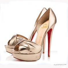 Christian Louboutin Red Sole Sandals Bowknot Peep-toe Golden