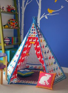 Teepee play tent - floor mat and cushions included - NO POLES- tipi no poles - colourful woodland design -