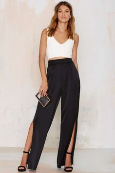 High-waisted black satin wide-leg pants w/ slit (Nasty Gal: See Ya Wide Leg Pants)