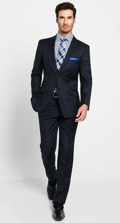 Warren Modern Light Blue Stripe - Charcoal Men's Suit