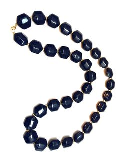Vintage Plastic Jewelry Navy Blue Deco Beaded Long Necklace