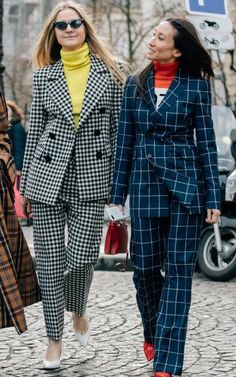 Can you really wear a trouser suit to a wedding? Blazer Fashion, Suit Fashion, Fashion Outfits, Checked Suit, Checked Trousers, Suits For Women, Jackets For Women, Stylish Outfits, Cool Outfits
