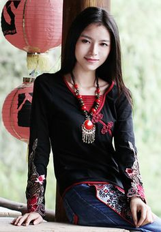 Long sleeved traditional Chinese embroidered shirt