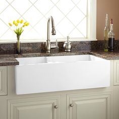 "36"" Risinger 60/40 Offset Bowl Fireclay Farmhouse Sink - Smooth Apron"