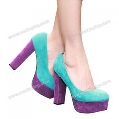 Thick Heel Women's Pumps With Color Block Platform and Round Head Deisgn