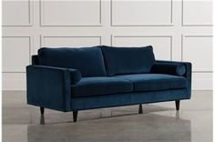 Love this type of fabric. Would love to recover my IKEA Karlstad sofa in this, tuft the back cushion with funky buttons, add some new legs and Viola! a brand new sofa! Blue velvet fabric, indigo, royal blue. Remington Sofa - Main