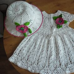 Summer Dress & hat for Baby - 2 year old - cro hook #2