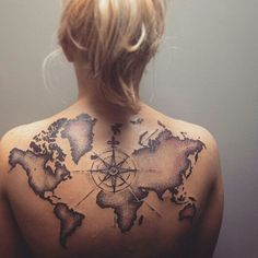 World map & compass rose tattoo by Alec Bauer