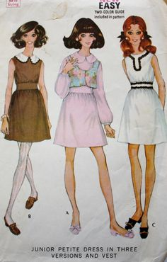 1960s Mod Dress/ Crop Vest /Vintage Sewing Pattern/ Gathered Midriff/ McCalls 9700/ Junior Petite Bust 30.5