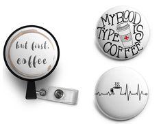 Coffee lovers nurse medical doctor ID badge reel for scrubs