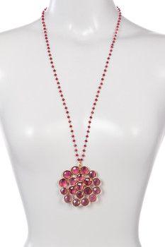 Gold Plated Sterling Silver Rose Quartz Cluster Pendant Necklace