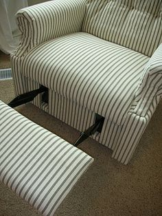 DIY - Reupholster An Old La-Z-Boy Recliner. Pinterest helped me do all the dining room chairs myself...onto the Archie Bunker La Z Boy!