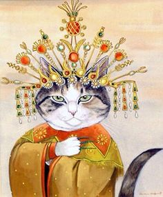 Turandot (Giacomo Puccini) by Susan Herbert from Opera Cats Pretty Cats, Cute Cats, Animal Gato, Fancy Cats, Gatos Cats, Wow Art, Cat People, Vintage Cat, Cat Drawing