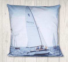 Nautical Sailboat Pillow Cover - Coastal Pillow - x Pillow Inserts, Pillow Covers, Dragon Tales, Nautical Pillows, Nautical Design, Free Studio, Joann Fabrics, Sailboat, Craft Stores
