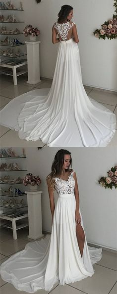 Boho Chic Ivory Chiffon Sweep Train Lace Appliques Beach Wedding Dresses 2018 Sexy Wedding Gowns