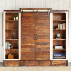 yorkville sliding door media wall cabinet planks of pine that once made up prairie