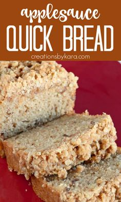 Every bite of this APPLESAUCE BREAD is scrumptious! The buttery cinnamon oat topping makes it a spectacular fall quick bread recipe! #applesaucebread #applesaucequickbread #applesaucecrumbbread #creationsbykara #applesaucebreadrecipe Best Apple Recipes, Easy Homemade Recipes, Holiday Recipes, Best Bread Recipe, Quick Bread Recipes, Muffin Recipes, Applesauce Bread, Recipe Mix, Artisan Bread