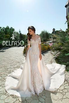 Amazing Embroidered Trumpet Off Shoulder Wedding Dress / Bridal Gown with Short Sleeves, Attachable Skirt and Long Train by Belfaso Off Shoulder Wedding Dress, Wedding Dress Train, Amazing Wedding Dress, Blue Wedding Dresses, Bohemian Wedding Dresses, Long Sleeve Wedding, Princess Wedding Dresses, Wedding Dress Sleeves, Cheap Wedding Dress
