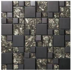 vetro in cristallo nero specchio mosaici del metallo piastrelle in acciaio inox tv bagno cucina sfondo tessere di mosaico a muro per la casa