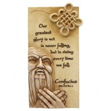 Art in Stone Confucius Quote Wall Hanging With Easel Back