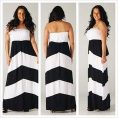 (Plus Size) Fabulous Black & White color blocked strapless Maxi Dress!   $45