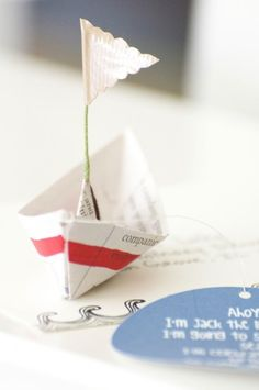 DIY Foldable Boat  – Folds Up Nicely Into an Envelope. This would be great to send to a boy in your life with a fun card.