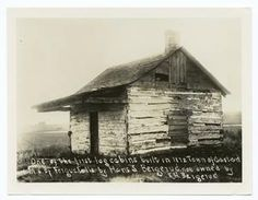 One of the first log cabins built in 1872 in the town of []astad [] of Fergus Falls, by Hans S. Bergerud