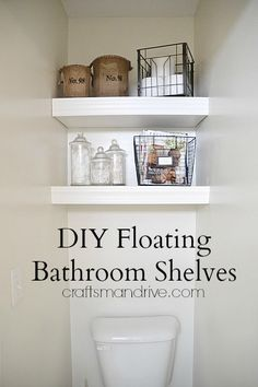 DIY floating Bathroom Shelves would be good for our tiny toilet room bathroom