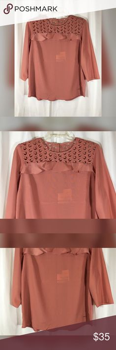 """Boho Lace Shoulder Dusty Pink Knit Top, Size L This is an absolute gorgeous, casual blouse - great for almost anything you can throw its way! It features a crochet/lace neck and shoulder panel with a ruffle trim in front and a knit back. Beautiful mauve/dusty pink color for cooler weather!  Brand: Anne Klein Size: L Material: 100% Polyester (Back Panel - 94% Viscose, 6% Elastane) Condition: New with tags  Measurements Bust: 45"""" Length: 26.5"""" Anne Klein Tops Blouses"""