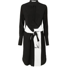 Belted Shirt Dress (74.380 RUB) ❤ liked on Polyvore featuring dresses, womenclothingdresses, silk shirt dresses, shirt dress, collared shirt dress, black and white shirt dress and silk dress