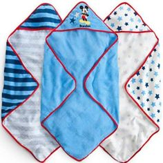 #disney mickey mouse #baby hooded bath / beach towel set of 3 brand new from $20.0