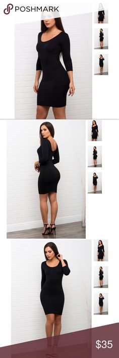 Stretchy Black Dress With Long Sleeves 92% polyester 8% spandex Hand wash cold Line dry Ultra stretchy Ultra soft 3/4 sleeves Model is wearing a size Small    US Size Chart  Small (2-4)  Medium (6-8)  Large (10-12)                 S              M             L  Bust30''-32''    32''-34''   34''-36'' Waist25''-26''    27''- 28''  30''-32''   Length30''          31''       32'' Dresses Midi