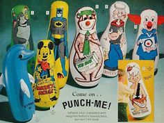 Punching Bop Bag 'Come on - punch me!'  We had one of these in our basement!!