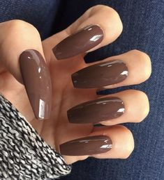 Set of 20 Handmade Long Chocolate Brown Neutral Ballerina Coffin Nails – The Best Nail Designs – Nail Polish Colors & Trends Brown Acrylic Nails, Brown Nail Art, Brown Nails, Acrylic Art, Coffin Shape Nails, Coffin Nails Long, Long Nails, Fall Gel Nails, My Nails