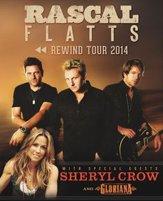 Rascal Flatts Rewind Tour 2014 with special guests Sheryl Crow and Gloriana at Farm Bureau Live at Virginia Beach on Sunday, July 27th at 7:30PM.  Tickets are on sale now - http://oak.ctx.ly/r/xlq3