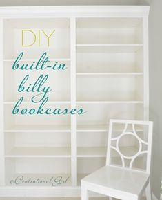 This seriously looks like I could make this happen! Just not 100% about the mieterd corners. diy built in ikea billy bookcases