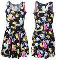 LESTE TRICÔ X-208 2015 novo vestido de Verão Mulheres adventure time Imprimir Vestido de Fitness mulheres skater vestido frete grátis