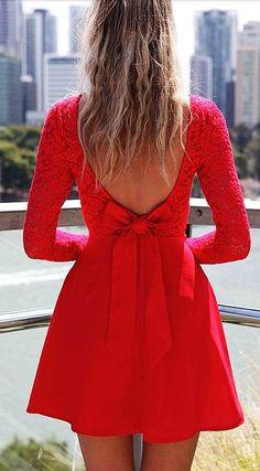 Cute Bow Long Sleeve Low Back Dress #short #dress www.loveitsomuch.com